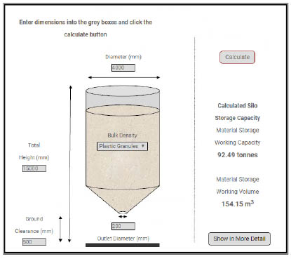 Barton silo sizing website tool